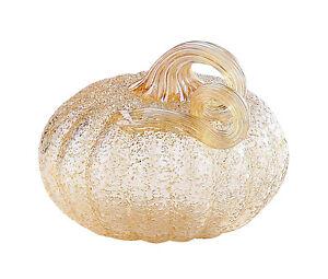 """New 5"""" Hand Blown Art Glass Crackle Pumpkin Sculpture Figurine Fall Smoke Amber"""