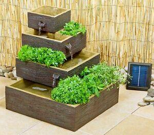 Dalton Bepflanzbarer Solar-Kaskadenbrunnen im Holz-Look Wasser ...