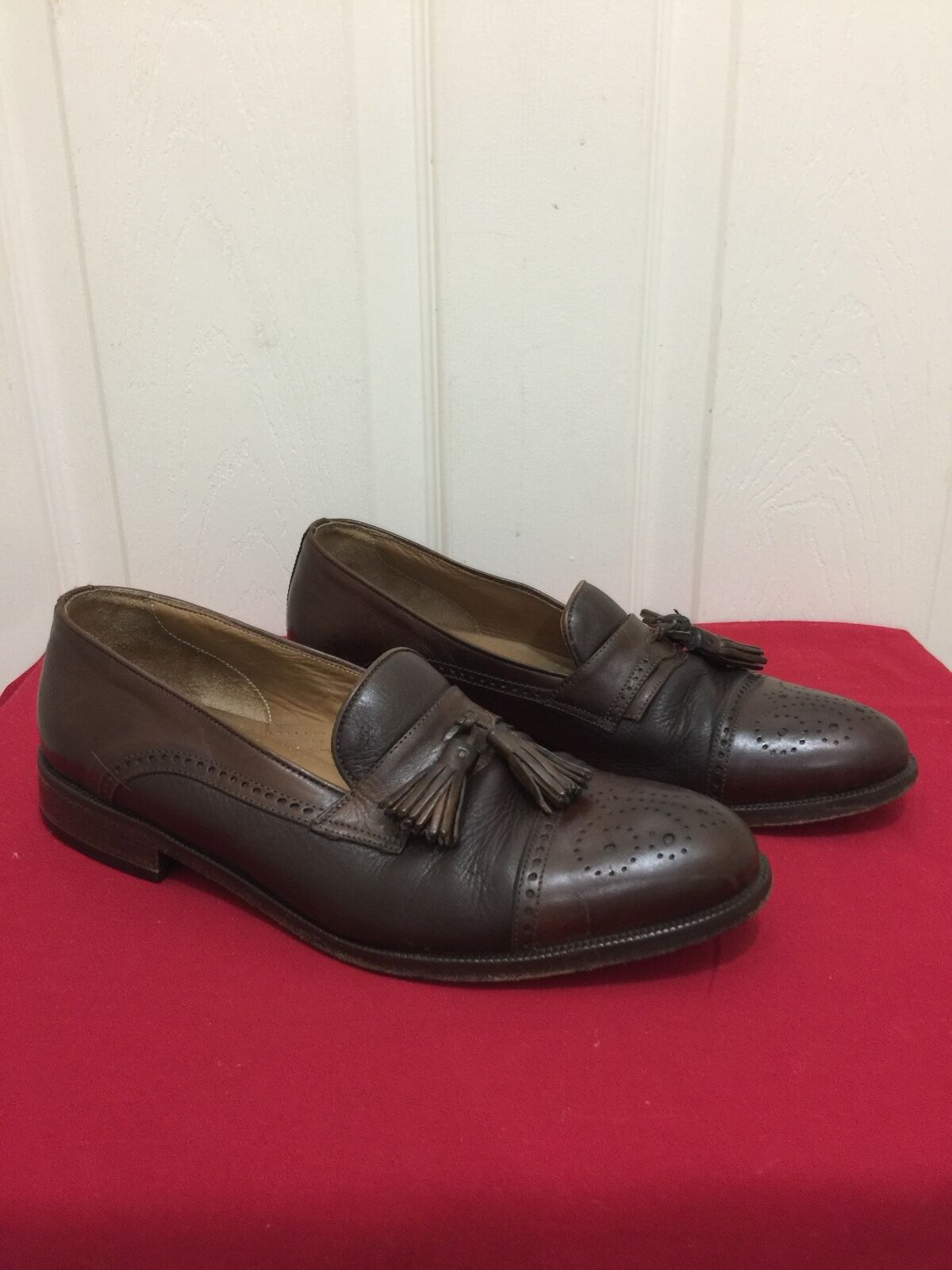 FLORSHEIM Imperial Uomo 9.5 D Tassel Loafers Cap Toe Brown Leather Dress Shoes