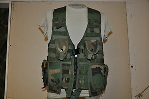 USGI FLC Vest With Pouches - Woodland Camo - MOLLE II - Issued, Good Condition