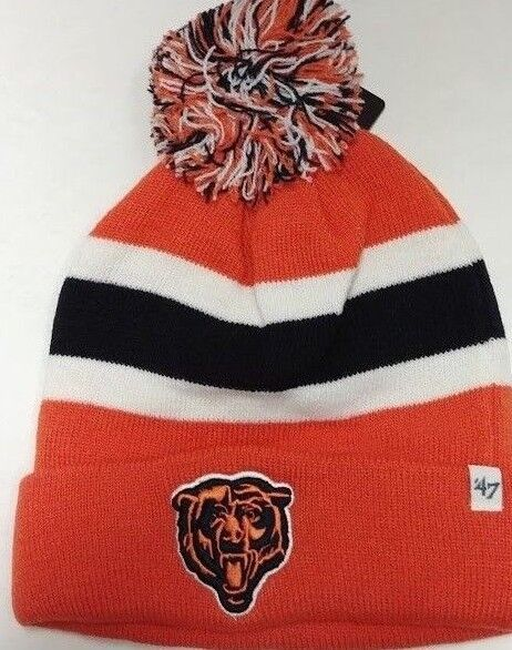 NFL Chicago Bears  47 BRAND Breakaway Cuff Knit Hat With Pom Orange One  Size for sale online  db5fc35cca08