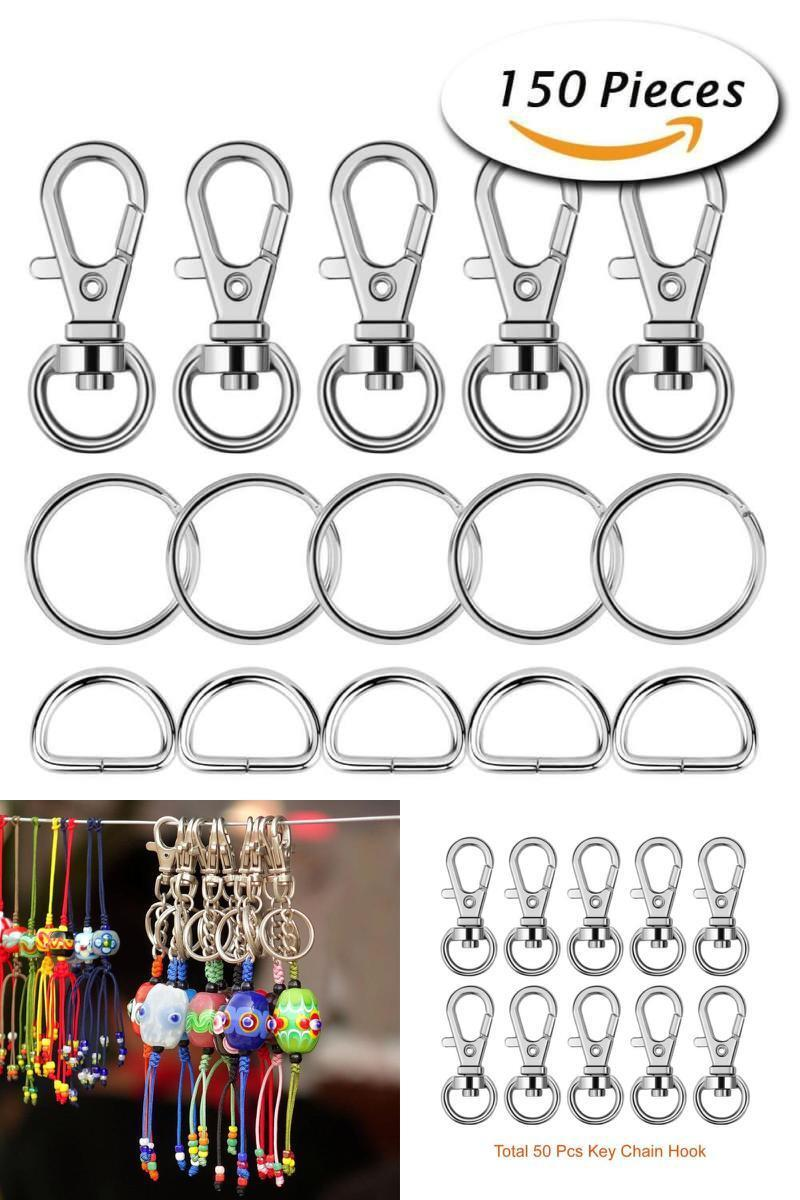 Lanyard Ring for Keychain Lanyard Rings Crafting 60 Pcs Metal Hook Keychain Premium Swivel Spring Hook and Split Key Ring Open Jump Ring
