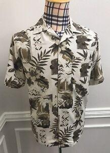 44fe259d Island Republic Men's Medium 100% Silk Hawaiian Aloha Shirt Tan ...