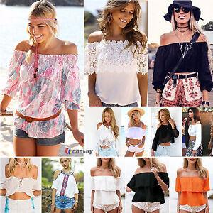 da-donna-Estate-Scarpe-da-Barca-Casual-camicetta-collo-Boho-camicia-t-shirt