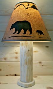 CEDAR NORTHWOODS LODGE SKI DECOR RUSTIC BEAR PAW LOG TABLE LAMP W//FREE SHADE