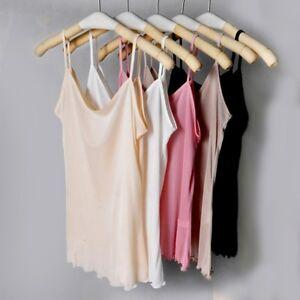 Women-Lady-Sexy-Pure-Silk-Camisole-Strap-Tank-Tops-Vest-Spaghetti-Cosy-White-Tee