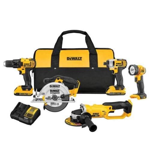 DeWALT DCK521D2 20-Volt 5-Tool Drill//Driver//Saw//Grinder and Light Combo Kit