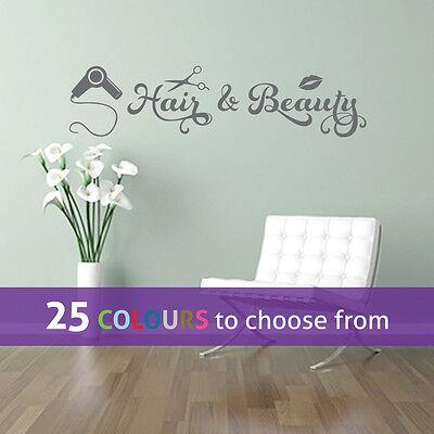 HAIR and BEAUTY swirls scissors wall sticker art decal hairdressers salon window