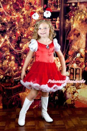 Halloween Party Red Crystal XMAS SANTA PRINCESS Dress Costume Crown SET 6M-8Year