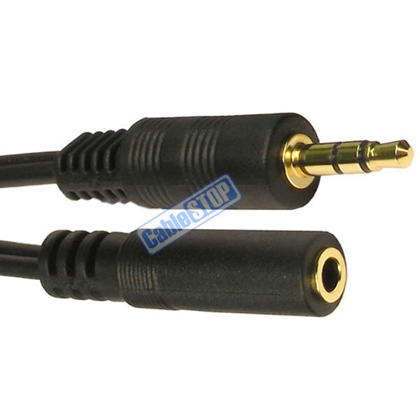 5m GOLD 3.5mm Jack Male PLUG to Female SOCKET Male to Female Audio Speaker Cable