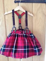 Next Girls Black Red Tartan Tutu Skirt With Braces 2-3yrs