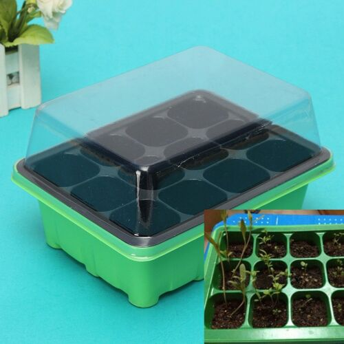 FJ EG/_ Durable 12 Cells Hole Plant Seeds Grow Box Tray Propagation Seeding Case