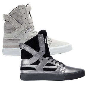 Supra Mens Skytop II Lace Up Active Gym Sport Hi Top Grey Metal Casual Trainer