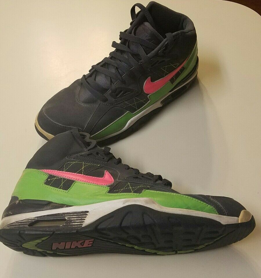 MENS NIKE 302346-061 AIR TRAINER BO JACKSON SHOES SZ PINK GREEN GRAY 2018