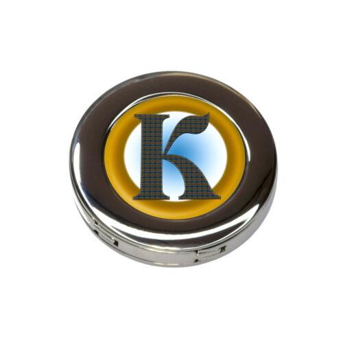 Letter K Initial Gold and Blue Pattern Foldable Purse Handbag Hook Hanger Holder