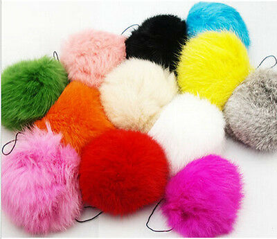 Real Rabbit Fur Ball Key Chains Ring Mobile Phone Tag Charm String 6Colors Pick