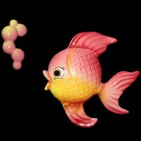 Vintage Norcrest Fish w Bubbles Wall Plaque for Mermaid Bath