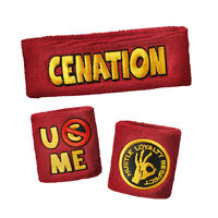 WWE AUTHENTIC John Cena U CAN'T C ME RED Headband Wristbands Set BRAND NEW