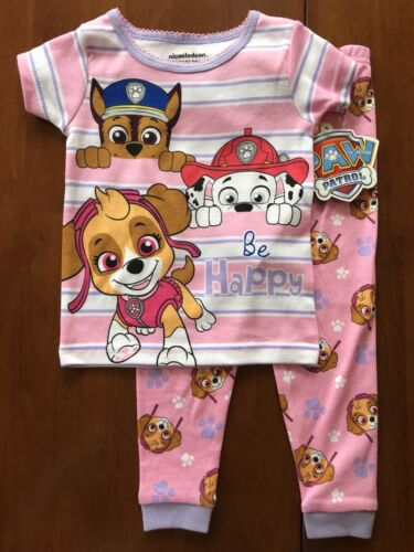 "Marshall Paw Patrol snug fit pjs features Chase Skye and words /""Be Happy/"""