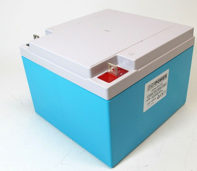 ENERpower LiFePo4 12V (12,8V) 25,6Ah für Echolot Lowrance, Eagle Ladegerät 2A