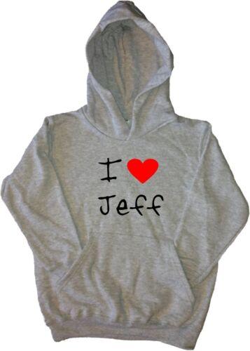 I Love Heart Jeff Kids Hoodie Sweatshirt