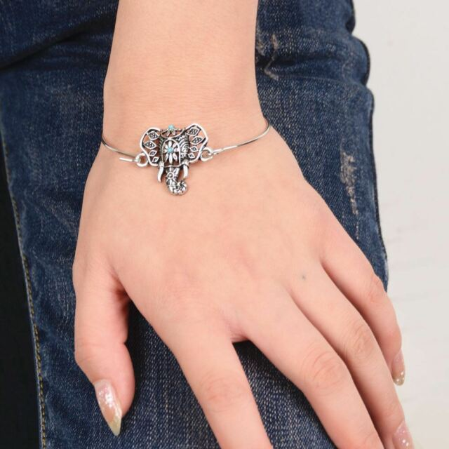 Vintage Tibetan silver Lucky Elephant Bracelet Bangle Cuff Totem New Design Gift