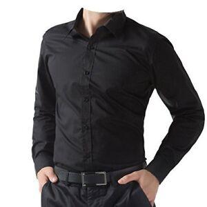 Para-hombres-Camisa-Informal-Inteligente-Negro-Manga-Larga-Talla-S-M-XL-Nuevo