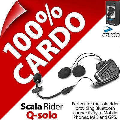 Cardo Scala Rider Q-solo Bluetooth Moto Casco Cuffie Per Chiamate Gps Mp3