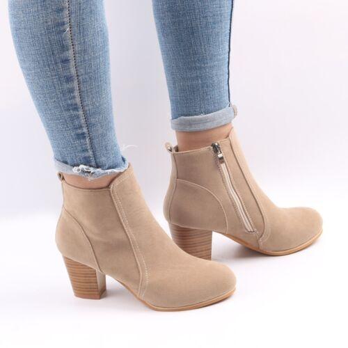 36-41 Damen Stiefeletten Boots Stiefel Reißverschluss Winter Warm Schuhe Gr