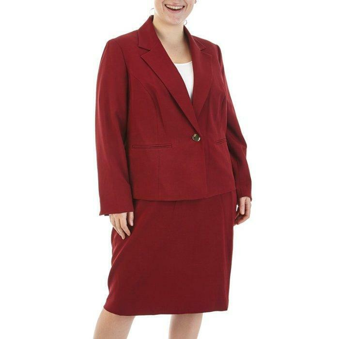 NINE WEST® Plus Size 22W Cabernet Red Skirt Suit NWT  240