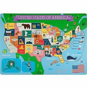 Learning USA Geography 50 States United of America Wooden Jigsaw Puzzle 45  PC