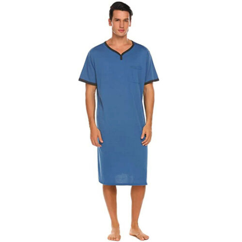 Men/'s Cotton Nightgown Robe Bathrobe Pajamas Sleepshirt Nightshirt Tops L-3XL