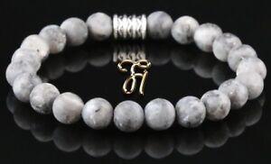 Larvikit-Armband-Bracelet-Perlenarmband-Buddha-grau-matt-8mm