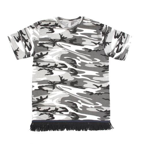 Starting at $27.99 Black White Gray Camo Fringed Tshirt