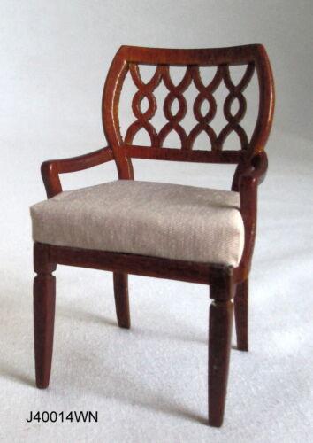1:12 JBM Miniatures J40014WN Sheraton Style Carver Chair Walnut