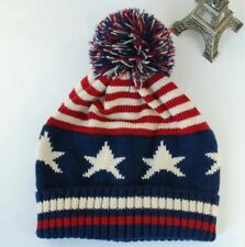 bf761325534 American USA Flag Pom Pom Beanie Winter Hat Cable Knit Warm Star Strip  Unisex