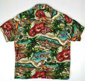 Vintage 40s Waikiki Diamond Head Rayon Hawaii Shirt S Kurt Cobain Aloha Grunge