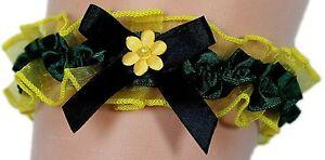 online store 828a9 c5bd9 Details zu Strumpfband Braut gelb schwarz dunkelgrün Blümchen Schleifen  Hochzeit Kostüm
