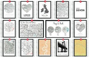 Personalised-City-Map-Prints-Towns-Home-Wall-Decor-Art-Modern-World-Coordinates