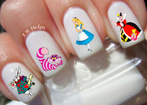 Image Is Loading Alice In Wonderland Nail Art Stickers Transfers Decals