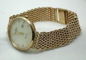 Superb-Gents-9-carat-Gold-Rotary-Elite-Date-Quartz-Bracelet-Watch