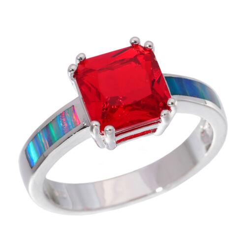 Rainbow Fire Opal Garnet Silver for Women Jewelry Gemstone Ring Size 6-9 OJ9251
