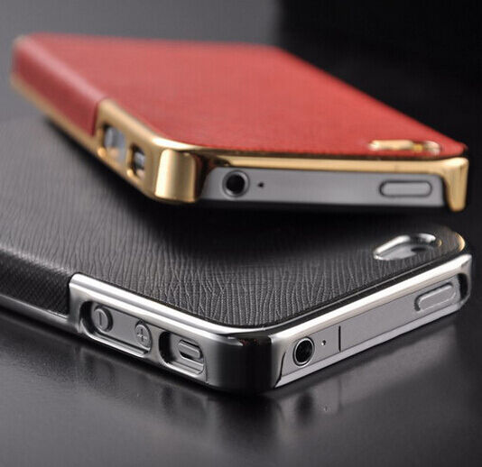 Gift Luxury Leather Chrome Hard Back Case Cover For iPhone 5S 5 iPhone 4S 4