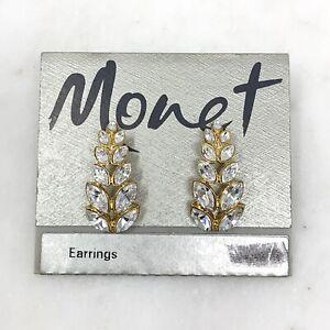 Vintage NOS Monet Rhinestone Earrings Pierced Gold Tone Drop New Old Stock 1980s