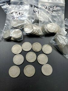 Set Collection Lot 10 Different Year Liberty V w/ Cent Nickel Coins 1900s dates