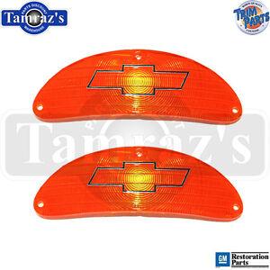 55-Chevy-Front-Parking-Turn-Light-Lamp-Lens-AMBER-w-Chrome-BOWTIE-Lenses-PAIR