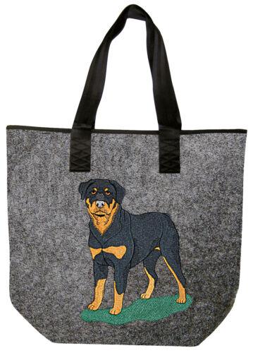 Filztasche Shopper Tasche hochwertige Stickerei Hund Rottweiler 261XX