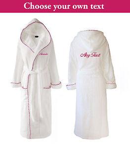 Personalised Luxury Towelling Dressing Gown Ladies Bathrobe White & Pink Cord
