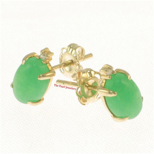 14k Solid Yellow Gold set 2 Diamonds Popular oval Green Jade stud Earrings TPJ
