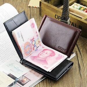 Men-039-s-Bifold-Leather-Money-Clip-Card-Holder-Wallet-Front-Pocket-Purse-Magnetic